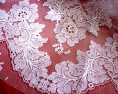 """5 Yards Wide 1950s White Chantilly Lace Fabric Yardage -  40"""" Wide - Vintage White Wedding Chantilly Floral Net Lace Fabric - Priced for all"""