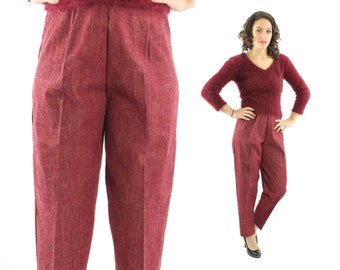 Vintage 50s Cigarette Pants NOS Maroon Denim Trousers Slacks High Waisted Pants Womens Fall Winter Fashion 1950s Large