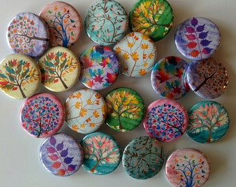 """Lot of  20 colorful tree 1.25""""  buttons pinback flatback hollowback or magnet you choose"""