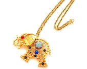 Verified Juliana Elephant Pin Pendant with Matrix and Glass Stones 24 Inch Gold Chain Book Piece