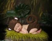 Crochet Newborn Baby Boy Girl Monkey Hat and Diaper Set, Custom Made to Order, Jungle Beanie Handmade Photo Photography Prop Shower Gift