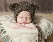 Crochet Newborn Baby Boy Girl, Teddy Bear Hat, Custom Made to Order, Handmade, Photo Prop, Photography Prop, Gift, Brown, Ivory Bonnet, Fall