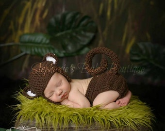 Crochet Newborn Baby Boy Girl Monkey Hat and Diaper Set, Custom Made to Order, Jungle Beanie Handmade Photo Photography Prop Shower Gift
