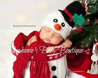 Crochet Newborn, 0-3M, 3-6M Baby Boy/Girl Frosty The Snowman Scarf and Hat Beanie Set, Custom Made Christmas Holiday Photo Photography Prop