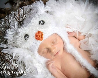 Crochet Baby Boy Girl, Snowy Owl Ear Flap Hat, Custom Made To Order, 6-12 Months, Toddler, Photo Photography Prop, Baby Shower Gift,