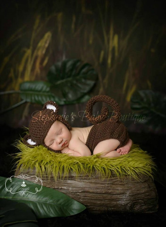 Crochet Newborn Baby Boy Girl Monkey Hat And Diaper Set