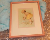 Reserved for Jen......Little Girl playing with Baby Doll Double Matted Framed Print by BESSIE PEASE GUTMANN Collectible Artwork
