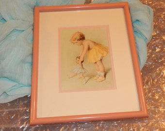 Little Girl playing with Baby Doll Double Matted Framed Print by BESSIE PEASE GUTMANN Collectible Artwork
