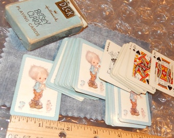 Mini Deck of BETSEY CLARK Playing Cards by Hallmark made in USA ,Boy with Flowers and Birds, Game ,Tiny Cards, Little
