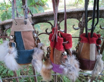 Vintage Hand Made Miniature Bucket Bag Purse Suede Leather & Fur
