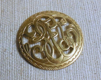 Raw Brass Nouveau Dapped Filigree Stampings (2) Steampunk, Victorian