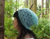 Tempting Turquoise  Slouchy Lace Beanie