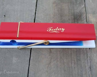 Giant Vintage Lucite Clothes Pin Patriotic Office Supply