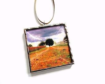 Landscape ornament, Autumn tree ornament, photo ornament, tree trimming, mini wall art, glass art,  miniature scenery, photograph ornament
