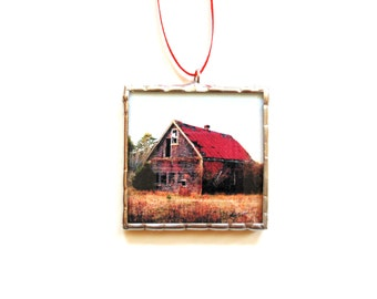 Old barn ornament, stained glass ornament, red barn rustic country farm home decor, gift under 20, photo ornament, barn photo