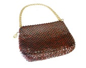 Whiting and Davis Handbag, Mesh Handbag, Maroon Red, Gold Chain, Designer Handbag, Vintage Purse, Vintage Accessories