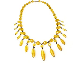 Art Deco Necklace, Czech Glass, Golden Yellow, Bib Fringe, Antique Jewelry