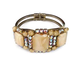 Juliana Style Bracelet, Clamper Bangle, Pink Rhinestone, Aurora Borealis, Tan Beige, Satin Glass, Vintage Jewelry