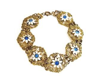 Art Deco Gold Filigree Enamel Rhinestone Flower Bracelet - Daisy Flower, Blue Rhinestone, Vintage Bracelet, Antique Jewelery