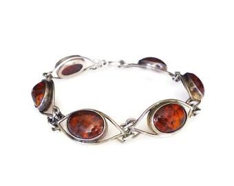 Fischland Schmuck, Vintage Bracelet, Baltic Amber, Silver 835, German, Modernist Jewelry, Vintage Jewelry