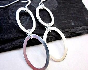 Silver Oval Earrings -- Long Hoops -- Oval Hoops -- Long Silver Hoop Earrings -- Silver Multi Hoops -- Hoop Earrings -- Choose 2 or 3 ovals
