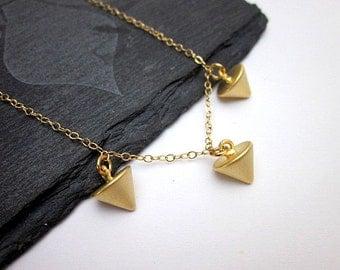 Gold Stud Necklace -- Gold Spike Necklace -- Gold triangle Charm Necklace -- Spike Charm Necklace -- Pointed Pendant Necklace --Spike & Stud