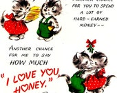 Vintage Christmas Scrap Card Kittens Kissing Mistletoe