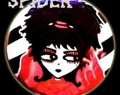 Lydia Deetz Red Wedding Gown  Black and White Striped 1 inch Button Pins  Pin Back Button   SPOOKY Beetlejuice