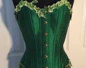 """Sample SALE- 20"""" (for 22-26"""" natural waist)- Poison Ivy Corset- overbust, steel boned, emerald green silk, ready to ship"""