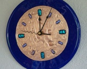 Fused Glass Copper Wall clock - Royal Blue 9 inch Round