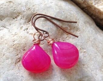 Fuchsia Chalcedony Drop Copper Earrings