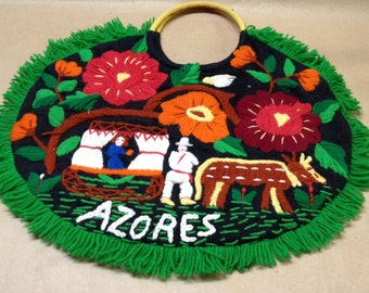 Circle Purse from Azores Native Needlework Purse Embroidered Purse Travel Souvenir