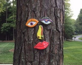 Picasso Tree Face - Original Unique Garden Art Yard  -  In Stock