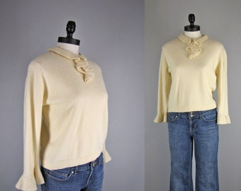 1960s Vintage Sweater l 60s Ivory Sweater with Jabot Ruffle