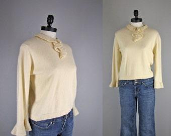 vintage 1960s sweater / cream colored angora sweater with cascade ruffle neckline / Darlene sweater / large