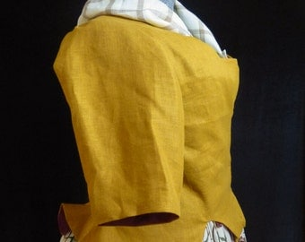 Gold Linen Caraco Jacket with Cuffed Sleeves, 18th century, size 10