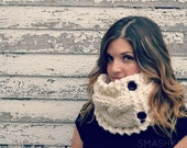 Knit Cowl, Bulky Knit Cowl,  Button Cowl,  Cream Knit Cowl,  Cream Knit Neckwarmer, Button Neckwarmer, Chunky Knit Scarf, Custom Order.