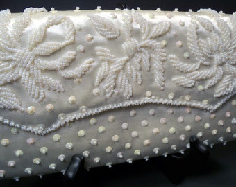 Vintage 1950's White Satin Clutch Purse Opalescent Sequins & Winter White Glass Beads