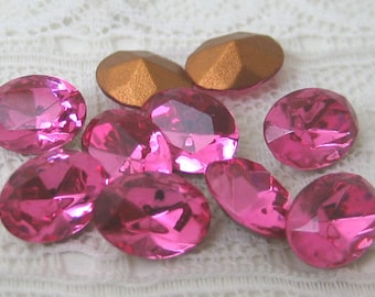 8x6 mm Pink Glass Oval Swarovski Loose Rhinestones