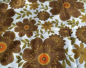 RESERVED for PAM 60s cotton textured Vintage Barkcloth yardage Large Floral Print Brown Yellow Orange UNUSED