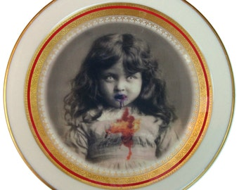 """Lucy the Zombie Girl Portrait  - Altered Angel Plate 6.25"""""""