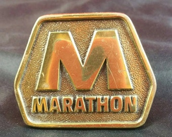 Brass Buckle Signed M Marathon Solid Brass