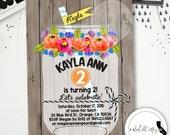 Mason Jar Birthday Party Invitation, Shabby Chic, Watercolor, Printable Invitation, Rustic Country, Wood, DIY, Digital or Printed Invitation