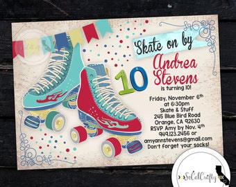 Roller Skating Birthday Party Invitation, Roller Skate Party, Birthday Invite, Teal, DIY, Printed or Printable Invitations, Free Shipping