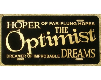 Doctor Who Optimist License Plate Hoper Dreamer Car Tag