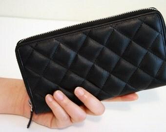 Genuine Leather Quilted Zipper Around Wallet, Clutch, Vintage