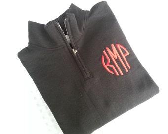 Monogrammed Quarter  Zip Sweatshirt.. Pullover  ... 1/4 Zip... Natural Circle Font...  Quick Shipping...