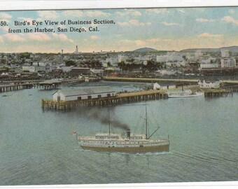 Panorama Harbor San Diego California 1910c postcard