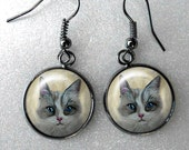Grey and White Cat Earrings ~ Girlfriend Gift ~ Pet Keepsake ~ Cat Earrings ~ Sister Gift ~ Gifts Under 10