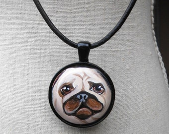 Fawn Pug Necklace ~ Birthday Gift ~ Pet Keepsake ~ January Birthday ~ Gifts for Her ~ Pug Portrait ~ Dog Painting ~ Dog Miniature